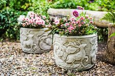 Pair of Peacock and Deer Design Planter Pots Very Heavy Stone Cast 64kgs
