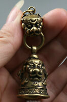 60MM Small Curio Chinese Bronze Lovable Animal Unicorn Beast Bell Wealth Pendant