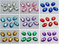 100 Flatback Acrylic Rhinestone Oval Gem Beads 13X18mm No Hole Color Choice
