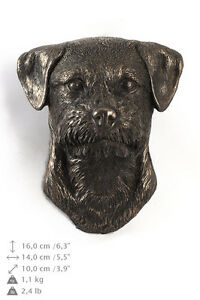 Border Terrier, Statuette hängen an einer Wand, Bronze, Art Dog, DE