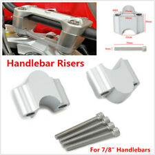 "Motorcycle Bikes Silver CNC  Aluminum 7/8"" Handlebar Riser 22mm Bar Clamp Mount"