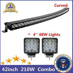Curved 210W 42'' LED Combo Beam Light Bar Single row+4'' 48W Pods Slim Wrangler
