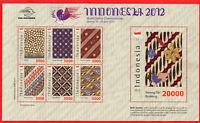 Indonesia MS 2012, Special with original batik cloth. World stamp Championship