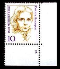 BUND Frauen   10 Pf** postfrisch, Mi. 1359, Eckrand u.r. Fprmnummer 3