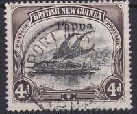 PNG929) Papua 1907 Lakatoi small 'Papua' overprint watermark vertical 4d Black &