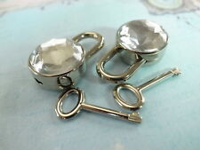 Mini Padlock Key Lock Round Shaped with clear  Gem Stone (Lot of 2)Small Size
