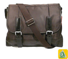 Brown 12 to 13 inch Laptop Notebook Nylon Leather Cross Body Messenger Bag