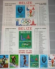 BELIZE 1981 563-68 Block 36-37a 555-62 Olympics 1980 Moscow 1984 Los Angeles MNH