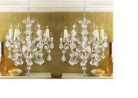 2 Ivory Baroque hanging ACRYLIC crystal Chandelier Candle Holder light wedding