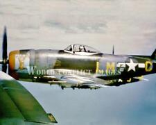 USAAF WW2 P-47 Fighter Marion 8x10 Nose Art Color Photo 56th FG