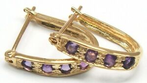 SYJEWELLERY FINE 9CT SOLID YELLOW GOLD ROUND NATURAL AMETHYST HOOP EARRINGS E908