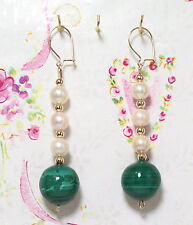 Malachite And Cultured Pearls With 14K Gold Earrings. 2.5 Inches Long. MC14K008