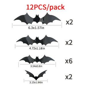 12Pcs/set 3D Black PVC Bat DIY Decor Wall Sticker Halloween Party Bar Room Decal