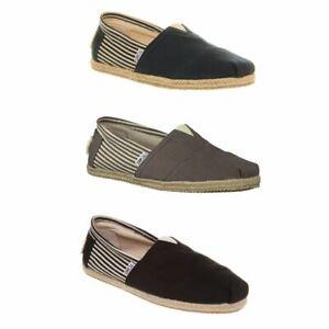 TOMS Authentic Stripe University MENS Slip On Trainers Shoes
