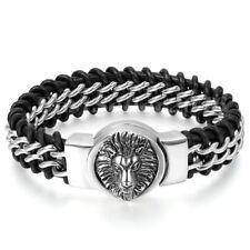 "Men's Large Black Braided Genuine Leather Stainless Steel Lion Head Bracelet 9"""