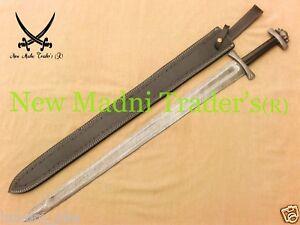 """38"""" DAMASCUS BLACK BULL HORN HANDLE HANDMADE VIKING SWORD"""