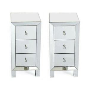 2X Glass Mirrored Bedroom Bedside Table Crystal Side Drawer Storage Cabinet UK
