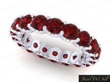 Genuine 5.7Ct Round Ruby Shared U-Prong Eternity Bridal Band Ring 10k White Gold