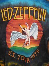 L LARGE - LED ZEPPELIN 1975 US TOUR THEME Tie Dye Multi-Color TEE TSHIRT T SHIRT