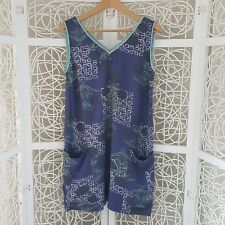 White Stuff Blue & Green Floral Print Casual Short Tunic Dress UK 10 Holiday