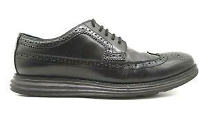 Cole Haan Black Leather Longwing Wingtip Lace Up Oxfords Shoes Men's 10 M
