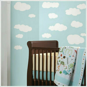 WHITE CLOUDS wall stickers 19 big decals nursery child's room decor baby sky