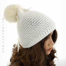 JUICY COUTURE Winter WHITE BEANIE HAT with Faux FUR POM & Back TIE ACCENT Cap
