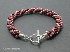 Pinks Colour 3 Stripe Woven Kumihimo Seed Bead Fashion Limited Edition Bracelet