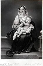 Madonna con Bambino,di Murillo.Steel Engraving.Stampa Antica + Passepartout.1850