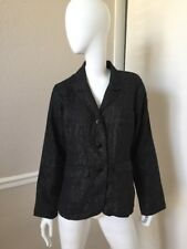 FLAX Black 100% Woven Linen Fitted Blazer Jacket Sz M BRAND NEW!