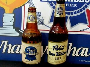 2 Vintage PABST BLUE RIBBON BEER Glass Bottles, Empty No Caps