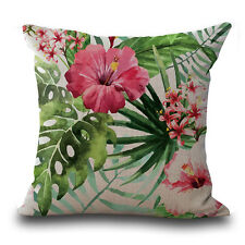 1pc Flower Cotton Linen Throw Pillow Case Cushion Cover Home Car Decor