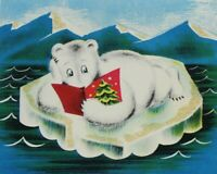 Norcross NORTHERN COMFORT Glittered Mica Polar Bear Used Christmas Card