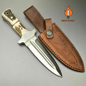Custom Handmade D2 Steel Dagger Knife with Leather Sheath Full Tang Stag/Antler