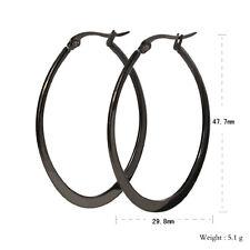 Classic Black Women Stainless Steel Fashion Big Oval Hoop Earrings Anti Allergic
