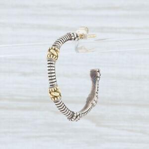 SINGLE Judith Ripka Hoop Earring Sterling Silver 18k Gold Pierced Beaded