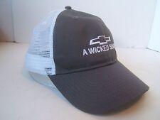 Chevrolet A Wicked Show Hat Gray Chevy Hook Loop Trucker Cap