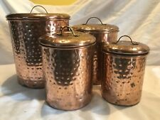 Hammered Copper Canister Set 8 Piece GUC Brass Handles Nice Patina Unlabeled