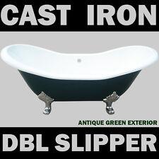 BRAND NEW ANTIQUE GREEN DOUBLE SLIPPER CAST IRON BATH TUB
