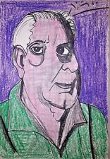 Pablo Picasso Georges Braque Portrait Original Drawing Painting. Signed.