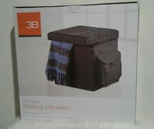 New seal Folding Ottoman Sit and Store Foot Stool Storage Bench Black 15x15x15