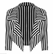 Ladies Striped Cropped Waterfall Coat Casual Women Plus Size Jacket Blazer 8-22