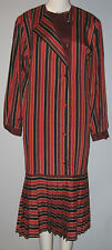 SUSAN SMALL Size 10 Red Striped Long Sleeves Dress (Made in Hong Kong)