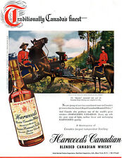 Ray Johnson Mounties HARWOOD'S CANADIAN WHISKY Canadian Pacific Railway 1948 Ad