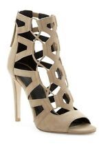 Rebecca Minkoff 8.5 Roxie New Taupe Tan Suede Tall Cage High Heel sandals