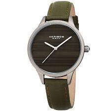 Womens's Akribos XXIV Ak1005GN Quartz Striated Silver & Green Leather Slim Watch