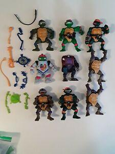 TMNT Vintage Figure Lot Of 9 Playmates Figures & 13 accessories.