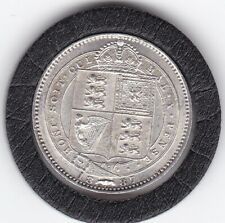 Very   Sharp  1887   Queen  Victoria  Sterling  Silver  Shilling  British Coin