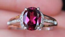 NEW 10K 1.8ct Garnet Rhodolite & Diamond Oval Ring Rose & White Gold Size 7