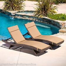 Set of 2 Outdoor Patio Brown Wicker Chaise Lounge Chairs w/ Caramel Cushions